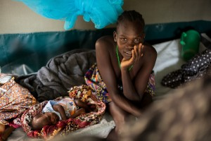 Fistula patient with her baby