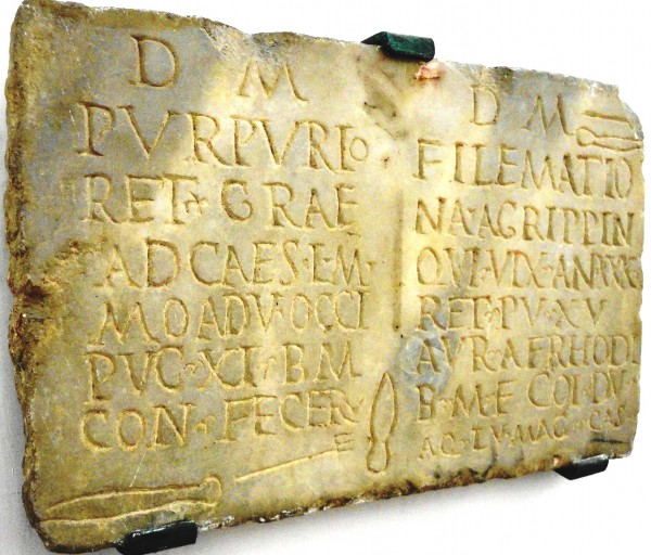 Figura 1 - Epigrafe dei gladiatori Filemazio e Purpurio
