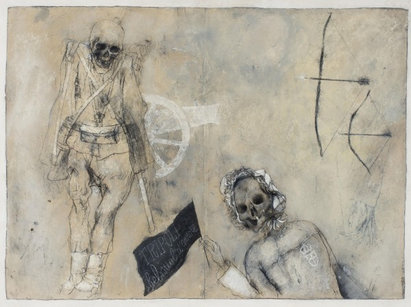 "Tavola dal libro"" L'arte della guerra"", 1969-1972, grafite e tecnica mista su carta applicata su lastre di zinco, graphite and mixed media on paper mounted on zinc plate, ciascuna / each cm 35 x 50"