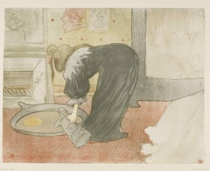 Woman at the Tub - The Tub, 1896 - Lithograph (in five colours), 40,3x52,5 cm - Budapest, Galleria Nazionale
